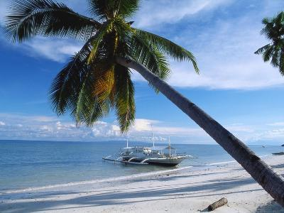 Outrigger Motorboat Moored on Alona Beach, Panglao, Bohol, Philippines-Jack Jackson-Photographic Print