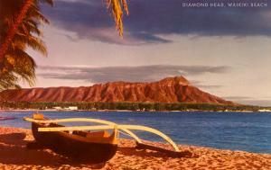 Outrigger on Beach by Diamond Head, Hawaii