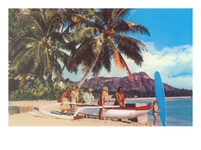 Outrigger on Waikiki Beach, Hawaii--Art Print