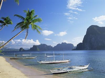Outriggers at El Nido, Bascuit Bay, Palawan, Philippines-Steve Vidler-Photographic Print