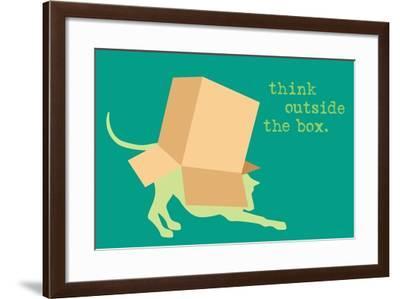 Outside Box - Green Version-Dog is Good-Framed Art Print