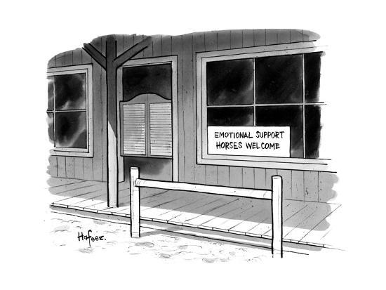 "Outside of a Western bar, a sign reads, ""Emotional Support Horses Welcome. - New Yorker Cartoon--Premium Giclee Print"