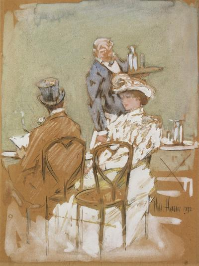 Outside the Cafe on the Grand Boulevard, 1898-Childe Hassam-Giclee Print