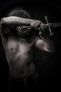 Naked Warrior Carrying Steel Sword by outsiderzone