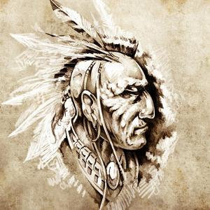 Sketch Of Tattoo Art, American Indian Chief Illustration by outsiderzone