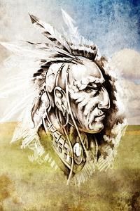 Sketch Of Tattoo Art, Indian Head Over Crop-Field Background by outsiderzone