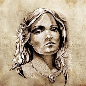 Sketch Of Tattoo Art, Lovely And Passionate Look From A Tent Of American Indian Girl by outsiderzone