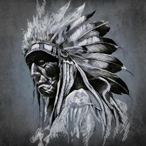Tattoo Art, Portrait Of American Indian Head Over Dark Background by outsiderzone
