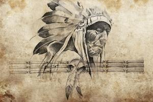 Tattoo Sketch Of American Indian Tribal Chief Warrior by outsiderzone