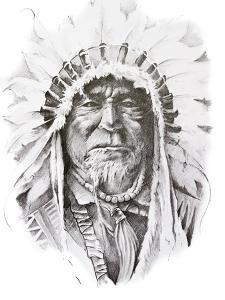 Tattoo Sketch Of Native American Indian Chief, Hand Made by outsiderzone