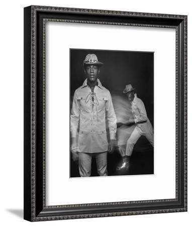 Outtake- Model in Gabardine Suit Adaptation with Buttoned-Flap Pleated Pockets-Zachary Freyman-Framed Premium Giclee Print