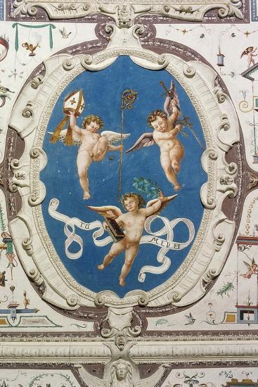 Oval Depicting Three Putti--Giclee Print