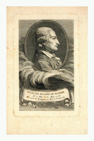Oval Head-And-Shoulders Profile Portrait of French Balloonist Jean-François Pilâtre De Rozier--Giclee Print