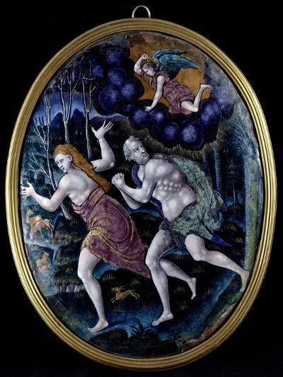 Oval Plaque Depicting Adam and Eve Expelled from Paradise, Limousin--Giclee Print