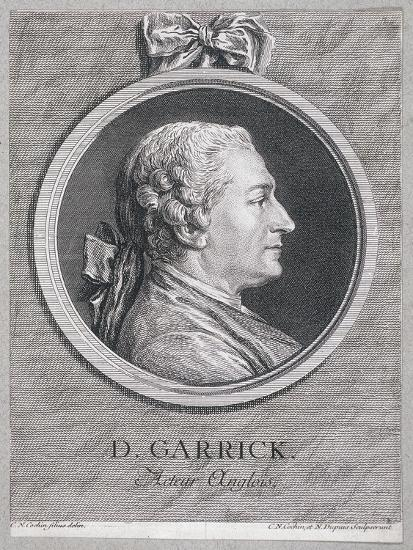 Oval Portrait of the Actor David Garrick Wearing a Short Wig, with Surround, C1780-Charles Nicolas Cochin-Giclee Print