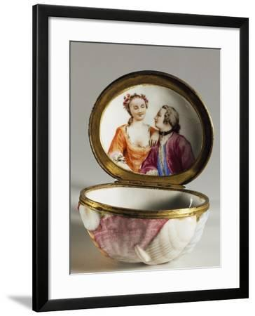 Oval Snuffbox in Form of Sea Shell with Romantic Conversation Scene on Inside of Lid--Framed Giclee Print