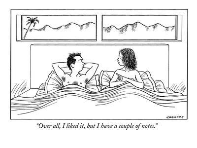 """Over all, I liked it, but I have a couple of notes."" - New Yorker Cartoon-Alex Gregory-Premium Giclee Print"