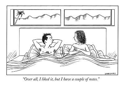 """""""Over all, I liked it, but I have a couple of notes."""" - New Yorker Cartoon-Alex Gregory-Premium Giclee Print"""