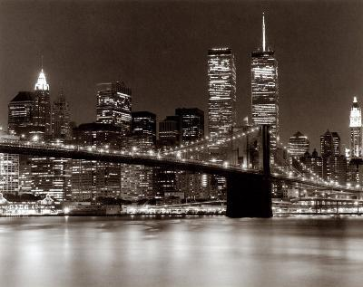 Over the Brooklyn Bridge at Night-Walter Gritsik-Art Print