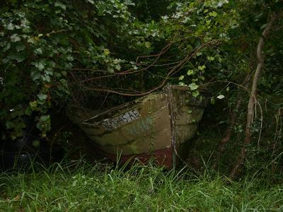 Overgrown Fishing Boat Abandoned in the Seaside Woods-Stephen St^ John-Photographic Print