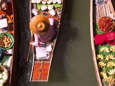 Overhead of Boats at Floating Market, Damnoen Sadoak-Karl Blackwell-Photographic Print