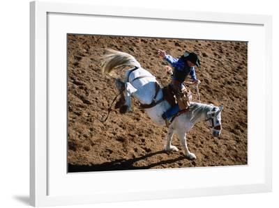 Overhead of Bronco Rider at Cloncurry Rodeo, Cloncurry, Queensland, Australia, Australasia-Holger Leue-Framed Photographic Print
