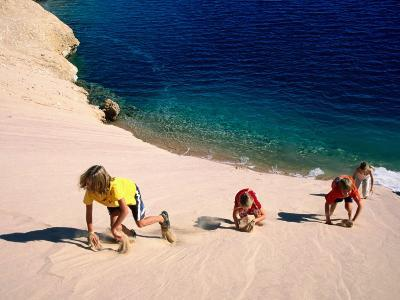 Overhead of Children Climbing Sand Dune-Philip & Karen Smith-Photographic Print