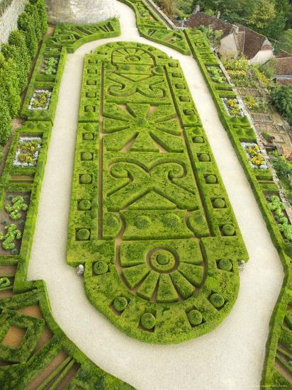 Overhead of English Style Garden from Tower of Brittany, Chateau De Hautefort-Mark Avellino-Photographic Print