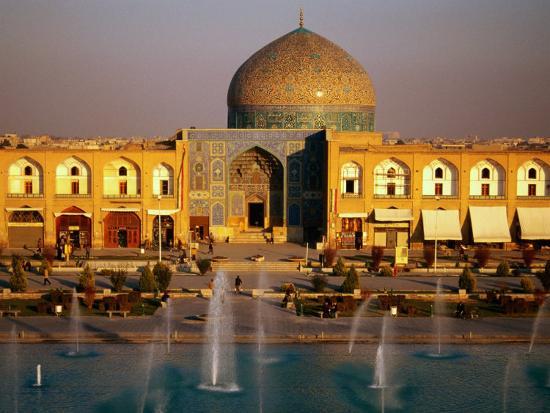 Overhead of Fountains Outside Sheikh Lotfollah Mosque, Emam Khomeini Square, Esfahan, Iran-Mark Daffey-Photographic Print