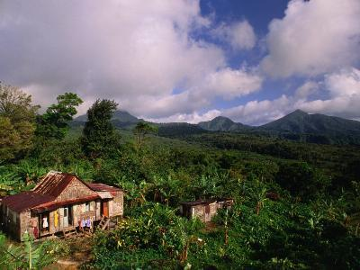 Overhead of House in Rainforest, Roseau Valley, Dominica-Michael Lawrence-Photographic Print