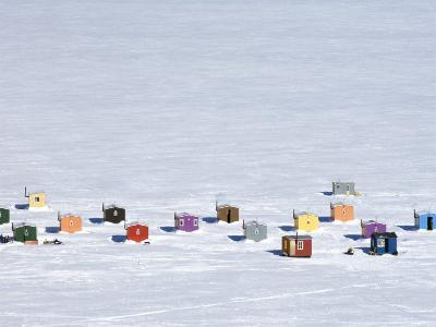 Overhead of Ice Fishing Huts-Guylain Doyle-Photographic Print