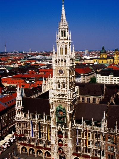 Overhead of Neo-Gothic Neues Rathaus (New Town Hall), Munich, Germany-Krzysztof Dydynski-Photographic Print