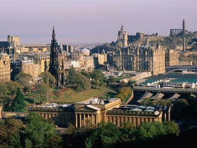 Overhead of Princes Gardens and National Gallery from Edinburgh Castle, Edinburgh, United Kingdom-Bethune Carmichael-Photographic Print