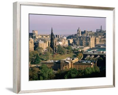 Overhead of Princes Gardens and National Gallery from Edinburgh Castle, Edinburgh, United Kingdom-Bethune Carmichael-Framed Photographic Print