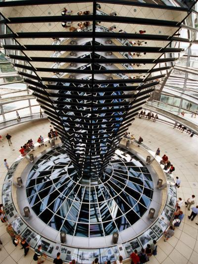 Overhead of Spiral Ramp and Mirrored Construction in Reichstag, Berlin, Germany-Martin Moos-Photographic Print