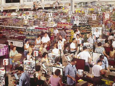 Overhead of Stacked Shelves of Food at Super Giant Supermarket with Shoppers Lined Up at Check Outs-John Dominis-Photographic Print