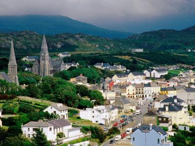 Overhead of Town with Surrounding Hills, Clifden, Ireland-Richard Cummins-Photographic Print