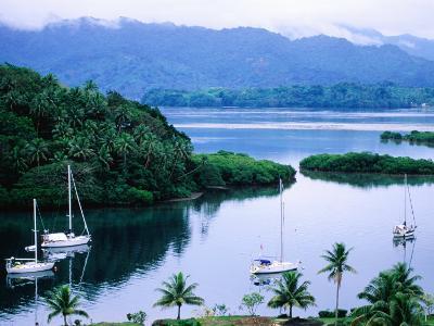 Overhead of Yachts in Savu Bay, Fiji-Peter Hendrie-Photographic Print