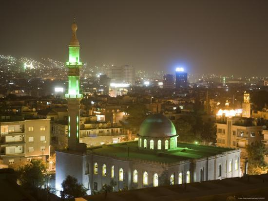 Overhead View of Damascus Skyline at Night from Le Meridien Damascus Hotel-Holger Leue-Photographic Print