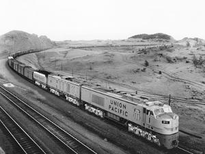 Overhead View of Large Freight Train
