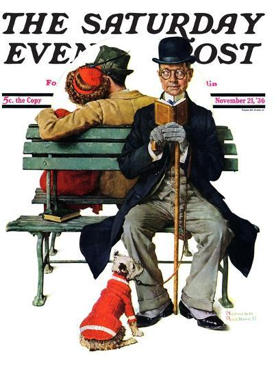 """""""Overheard Lovers"""" (man on park bench) Saturday Evening Post Cover, November 21,1936-Norman Rockwell-Giclee Print"""