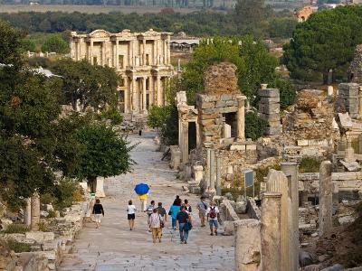 Overlook of Library with Tourists, Ephesus, Turkey-Joe Restuccia III-Photographic Print