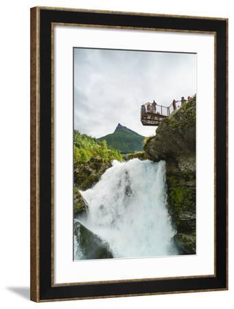 Overlook on Small Waterfall in Geiranger, Norway, Scandinavia, Europe-Amanda Hall-Framed Photographic Print