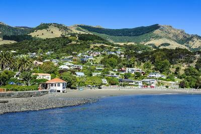 Overlook over Akaroa, Banks Peninsula, Canterbury, South Island, New Zealand, Pacific-Michael Runkel-Photographic Print