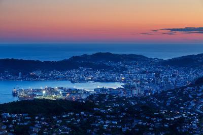 Overlooking the City of Wellington, its Harbour and Beyond to the Cook Straits at Dusk, Wellington-Garry Ridsdale-Photographic Print