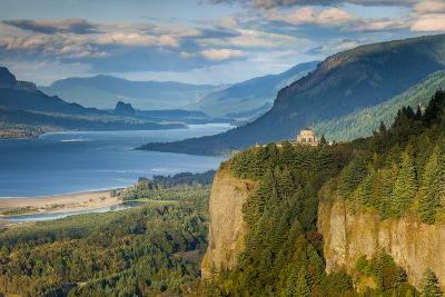 Overlooking the Vista House and the Columbia River Gorge, Oregon, USA-Brian Jannsen-Photographic Print