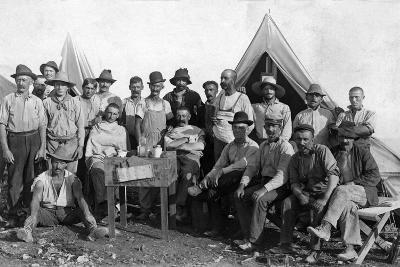 Oversea Railway Laborers Relax at their Camp, C.1907--Photographic Print