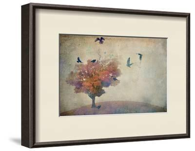 Oversized Crows Flying from Tree-Mia Friedrich-Framed Photographic Print