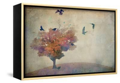 Oversized Crows Flying from Tree-Mia Friedrich-Framed Canvas Print