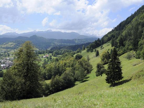 Overview of Podhom Village Near Bled, Julian Alps, Slovenia, Slovenian, Europe, European-Nick Upton-Photographic Print